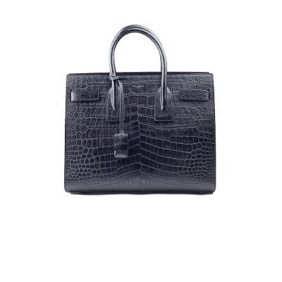 crocodile large tote bag black